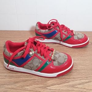 Coach Oriana red color block blingy shoes